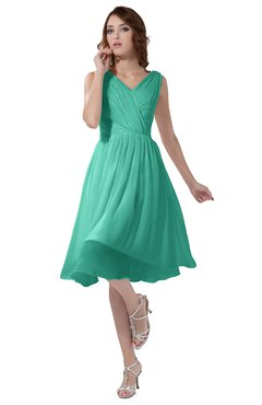 ColsBM Alexis Seafoam Green Simple A-line V-neck Zipper Knee Length Ruching Party Dresses