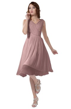 ColsBM Alexis Silver Pink Simple A-line V-neck Zipper Knee Length Ruching Party Dresses