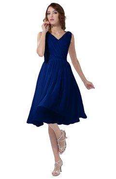 ColsBM Alexis Sodalite Blue Simple A-line V-neck Zipper Knee Length Ruching Party Dresses