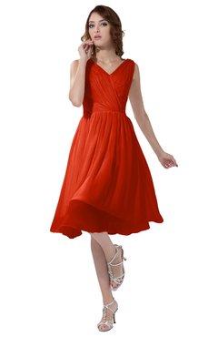 ColsBM Alexis Tangerine Tango Simple A-line V-neck Zipper Knee Length Ruching Party Dresses