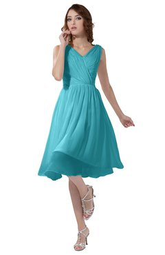 ColsBM Alexis Turquoise Simple A-line V-neck Zipper Knee Length Ruching Party Dresses