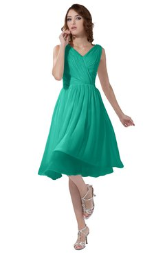 ColsBM Alexis Viridian Green Simple A-line V-neck Zipper Knee Length Ruching Party Dresses