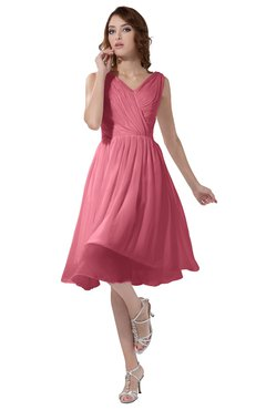 ColsBM Alexis Watermelon Simple A-line V-neck Zipper Knee Length Ruching Party Dresses