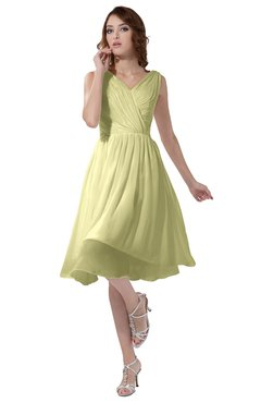 ColsBM Alexis Wax Yellow Simple A-line V-neck Zipper Knee Length Ruching Party Dresses