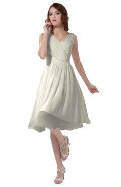 ColsBM Alexis Whisper White Simple A-line V-neck Zipper Knee Length Ruching Party Dresses