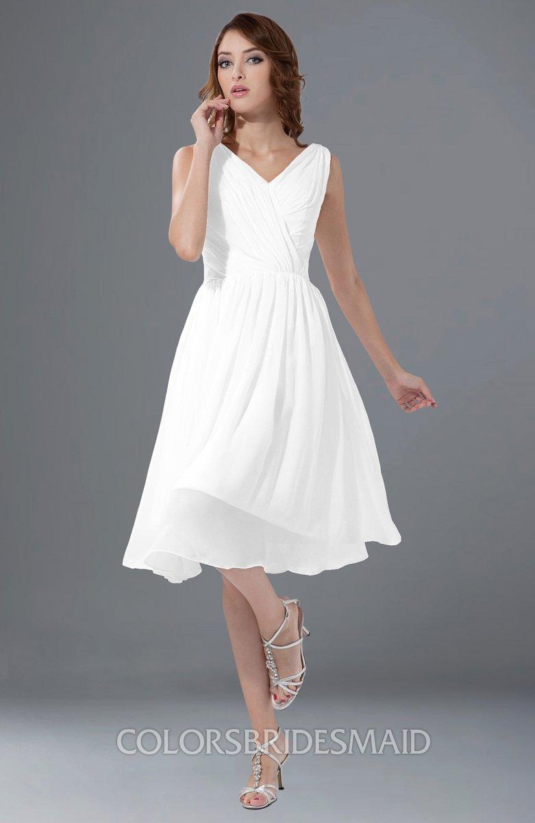 391716c727afdf ColsBM Alexis White Simple A-line V-neck Zipper Knee Length Ruching Party  Dresses