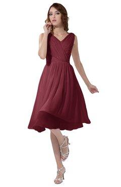 ColsBM Alexis Wine Simple A-line V-neck Zipper Knee Length Ruching Party Dresses