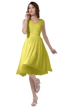 ColsBM Alexis Yellow Iris Simple A-line V-neck Zipper Knee Length Ruching Party Dresses