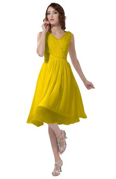 ColsBM Alexis Yellow Simple A-line V-neck Zipper Knee Length Ruching Party Dresses