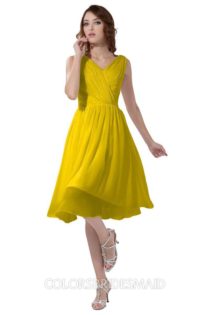 54e782a038 ColsBM Alexis Yellow Simple A-line V-neck Zipper Knee Length Ruching Party  Dresses