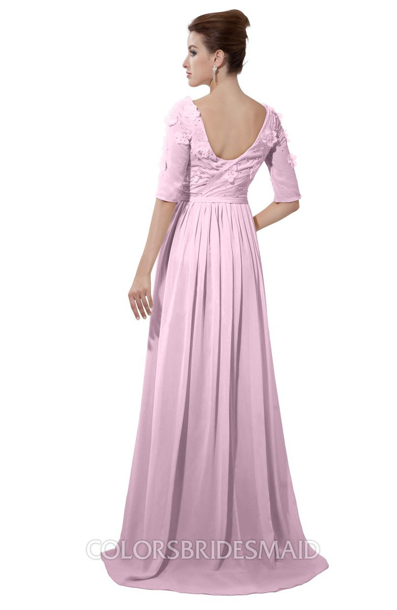 Colsbm Emily Baby Pink Casual A Line Sabrina Elbow Length Sleeve Backless Beaded Bridesmaid Dresses