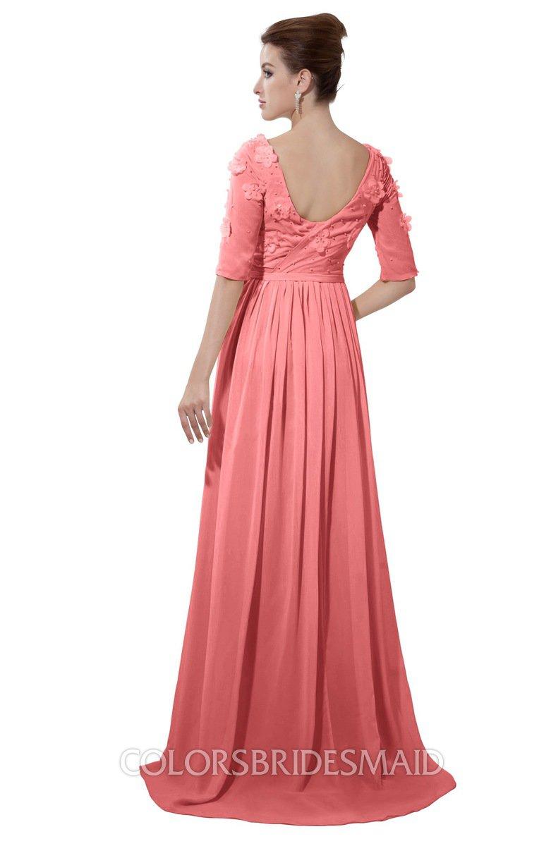 5018acf9b7ba ColsBM Emily Coral Casual A-line Sabrina Elbow Length Sleeve Backless  Beaded Bridesmaid Dresses