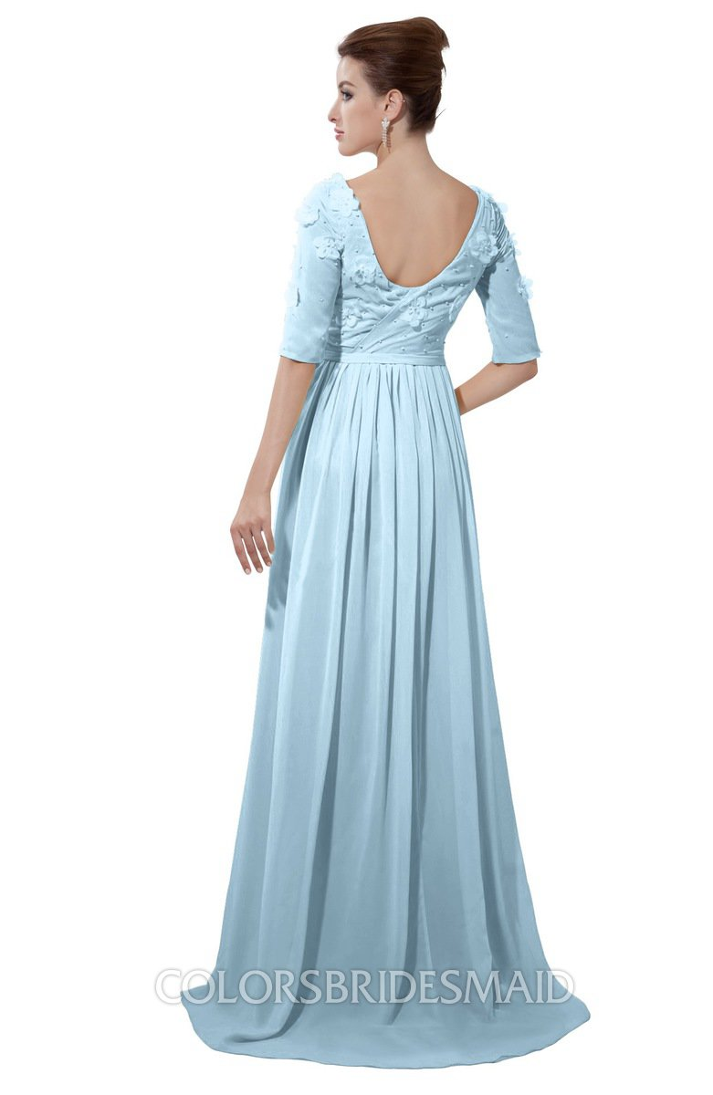 Ice blue casual a line sabrina elbow length sleeve backless beaded casual a line sabrina elbow length sleeve backless beaded bridesmaid dresses ombrellifo Image collections