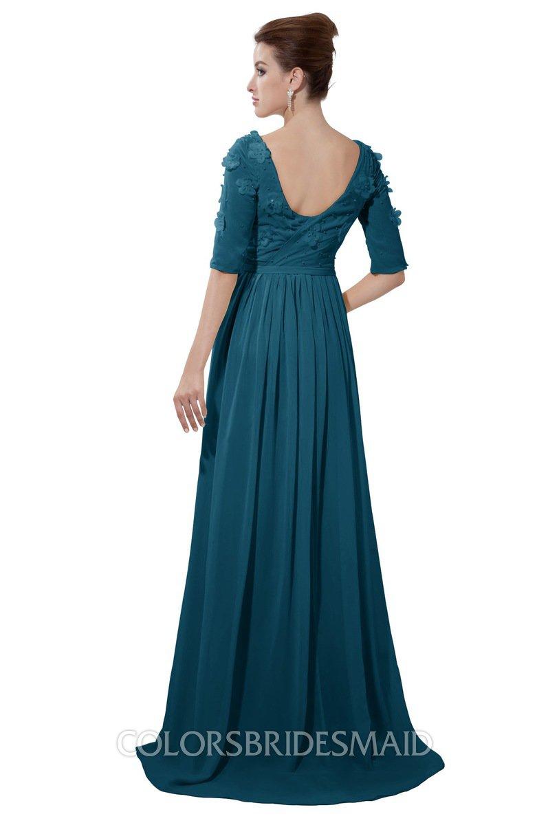 Colsbm Emily Moroccan Blue Casual A Line Sabrina Elbow Length Sleeve Backless Beaded Bridesmaid Dresses