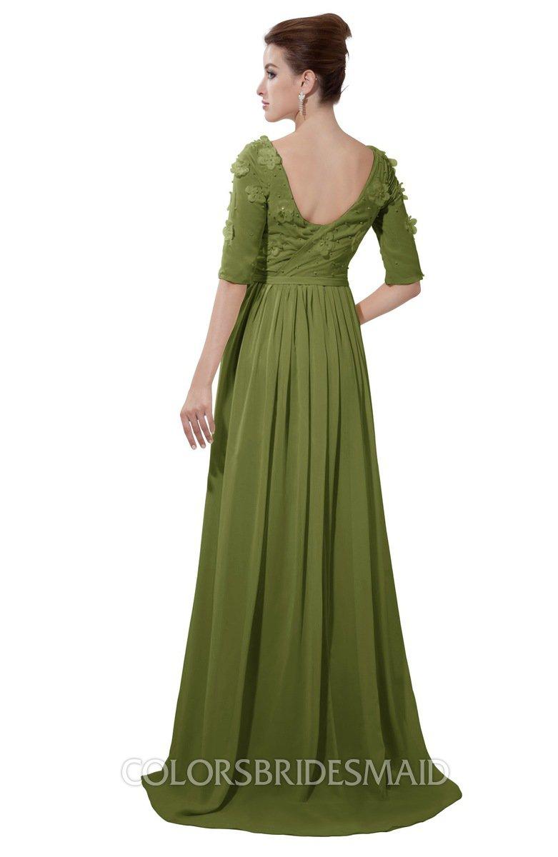 Colsbm Emily Olive Green Casual A Line Sabrina Elbow Length Sleeve Backless Beaded Bridesmaid Dresses