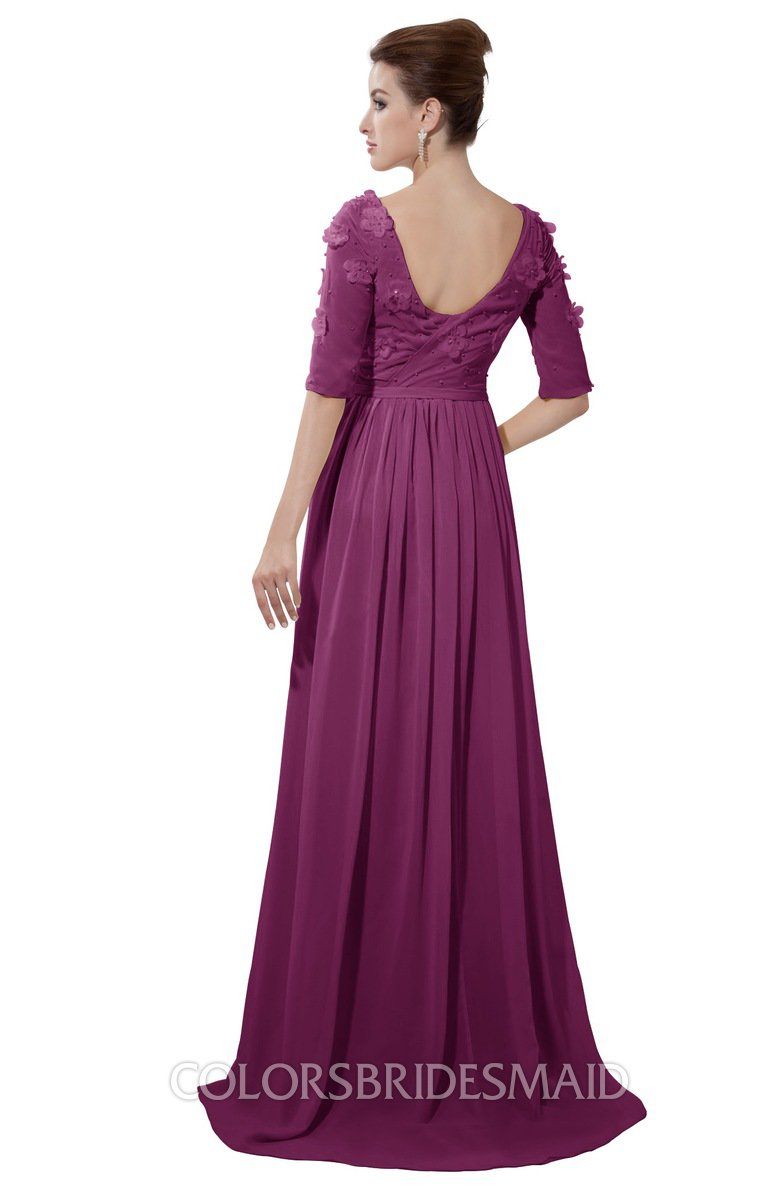 aebca915609 ColsBM Emily Raspberry Casual A-line Sabrina Elbow Length Sleeve Backless  Beaded Bridesmaid Dresses
