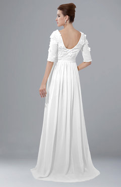 2a69ac73567 ColsBM Emily White Casual A-line Sabrina Elbow Length Sleeve Backless Beaded  Bridesmaid Dresses
