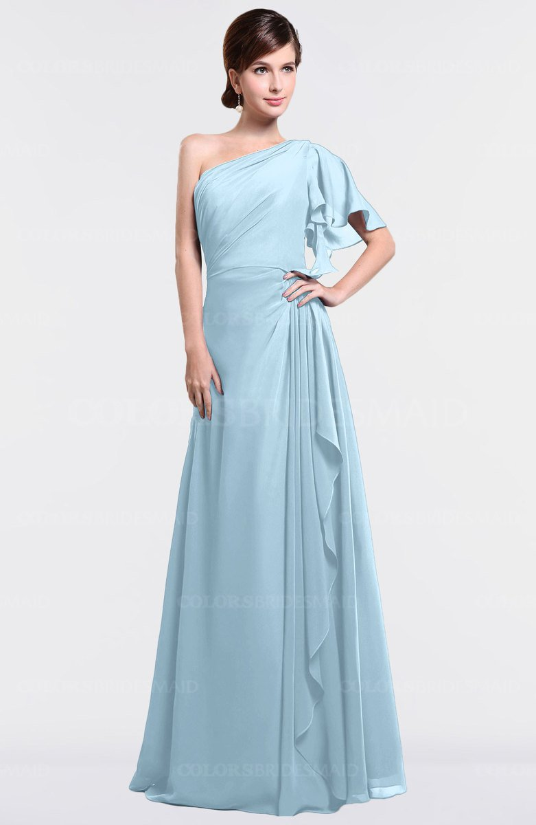 Ice blue simple a line short sleeve half backless floor length simple a line short sleeve half backless floor length ruffles bridesmaid dresses ombrellifo Images