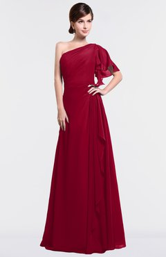 ColsBM Louisa Maroon Simple A-line Short Sleeve Half Backless Floor Length Ruffles Bridesmaid Dresses