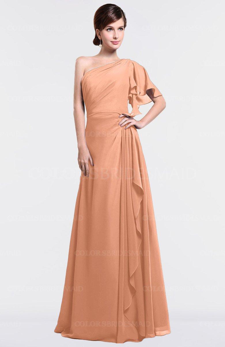 Colsbm Louisa Salmon Simple A Line Short Sleeve Half Backless Floor Length Ruffles Bridesmaid Dresses
