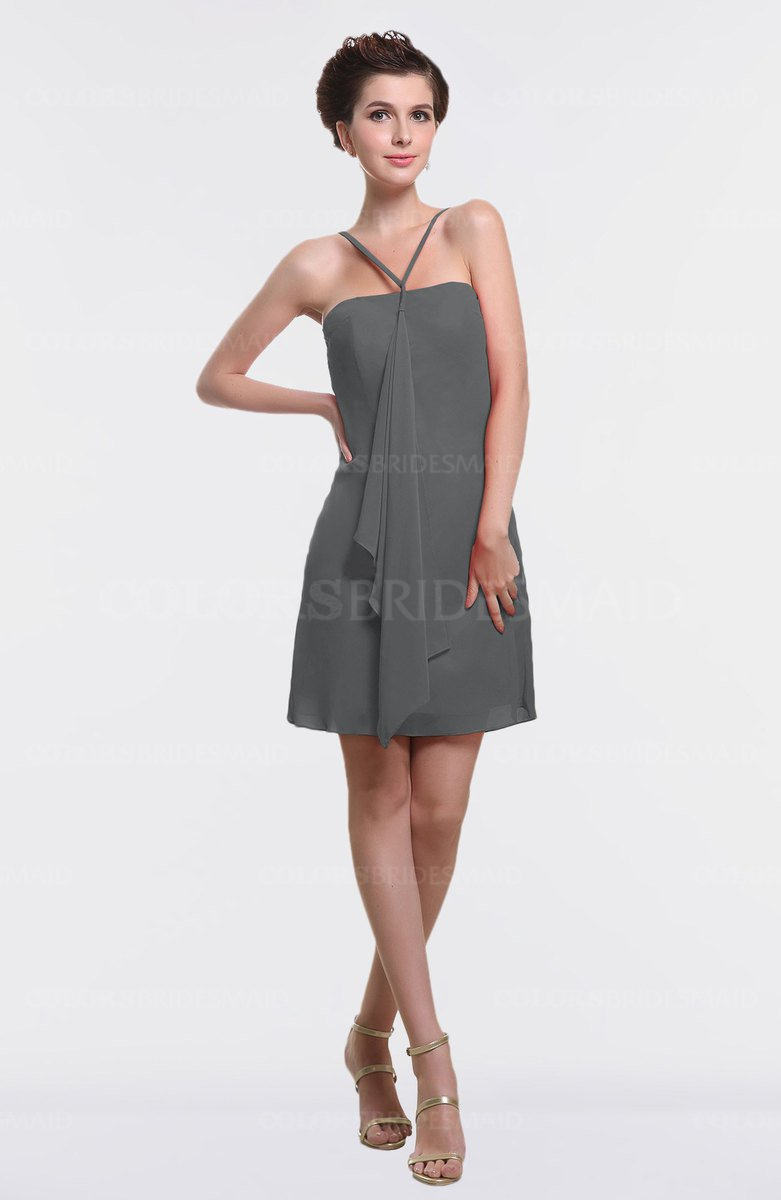 ColsBM Aliya Grey Informal Sheath Zipper Chiffon Mini Plainness Prom Dresses bdd6bdacc