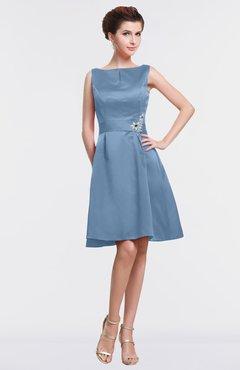 ad7d8af7b56 ColsBM Gloria Faded Denim Plain A-line Sleeveless Satin Knee Length  Graduation Dresses