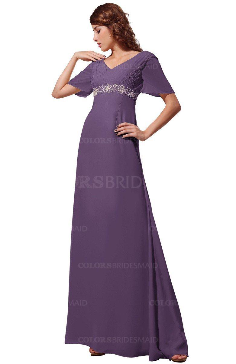 Colsbm Alaia Eggplant Modest Short Sleeve Chiffon Floor Length Beading Bridesmaid Dresses