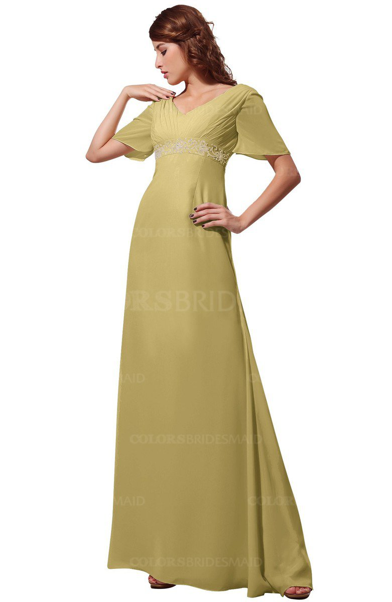 Gold modest short sleeve chiffon floor length beading for Gold bridesmaid dresses wedding