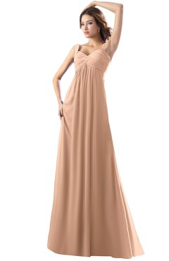 ColsBM Diana Almost Apricot Modest Empire Thick Straps Zipper Floor Length Ruching Prom Dresses
