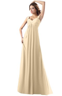 ColsBM Diana Apricot Gelato Modest Empire Thick Straps Zipper Floor Length Ruching Prom Dresses