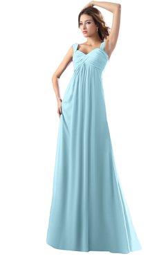 3be2a8817ed ColsBM Diana Aqua Modest Empire Thick Straps Zipper Floor Length Ruching  Prom Dresses