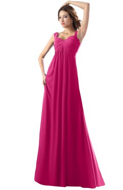 ColsBM Diana Beetroot Purple Modest Empire Thick Straps Zipper Floor Length Ruching Prom Dresses