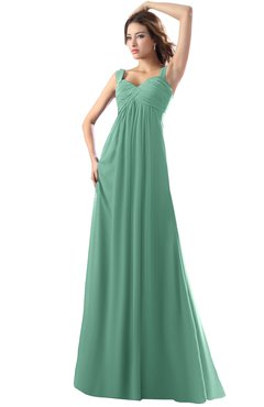 ColsBM Diana Beryl Green Modest Empire Thick Straps Zipper Floor Length Ruching Prom Dresses