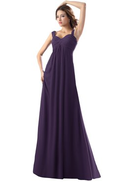 ColsBM Diana Blackberry Cordial Modest Empire Thick Straps Zipper Floor Length Ruching Prom Dresses
