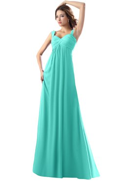 ColsBM Diana Blue Turquoise Modest Empire Thick Straps Zipper Floor Length Ruching Prom Dresses