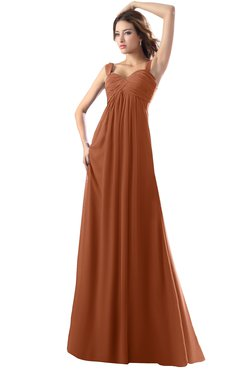 ColsBM Diana Bombay Brown Modest Empire Thick Straps Zipper Floor Length Ruching Prom Dresses