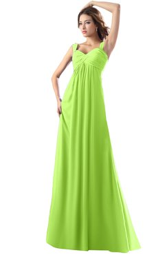 ColsBM Diana Bright Green Modest Empire Thick Straps Zipper Floor Length Ruching Prom Dresses