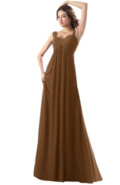 ColsBM Diana Brown Modest Empire Thick Straps Zipper Floor Length Ruching Prom Dresses