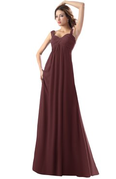 ColsBM Diana Burgundy Modest Empire Thick Straps Zipper Floor Length Ruching Prom Dresses