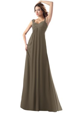 ColsBM Diana Carafe Brown Modest Empire Thick Straps Zipper Floor Length Ruching Prom Dresses