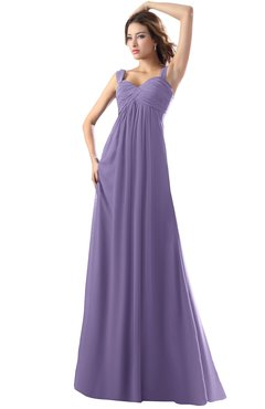 ColsBM Diana Chalk Violet Modest Empire Thick Straps Zipper Floor Length Ruching Prom Dresses