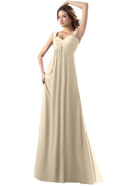 ColsBM Diana Champagne Modest Empire Thick Straps Zipper Floor Length Ruching Prom Dresses