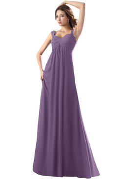 ColsBM Diana Chinese Violet Modest Empire Thick Straps Zipper Floor Length Ruching Prom Dresses