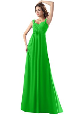 ColsBM Diana Classic Green Modest Empire Thick Straps Zipper Floor Length Ruching Prom Dresses