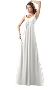 ColsBM Diana Cloud White Modest Empire Thick Straps Zipper Floor Length Ruching Prom Dresses