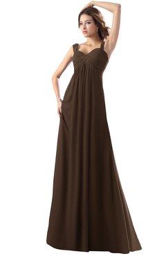ColsBM Diana Copper Modest Empire Thick Straps Zipper Floor Length Ruching Prom Dresses