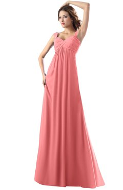 ColsBM Diana Coral Modest Empire Thick Straps Zipper Floor Length Ruching Prom Dresses