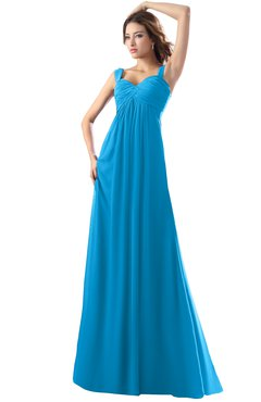 ColsBM Diana Cornflower Blue Modest Empire Thick Straps Zipper Floor Length Ruching Prom Dresses