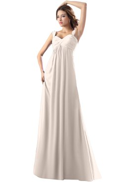 ColsBM Diana Cream Pink Modest Empire Thick Straps Zipper Floor Length Ruching Prom Dresses
