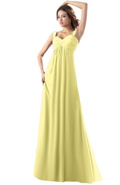 ColsBM Diana Daffodil Modest Empire Thick Straps Zipper Floor Length Ruching Prom Dresses